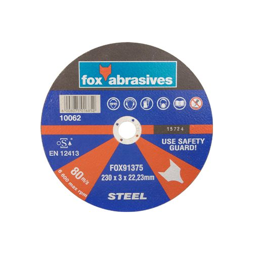 FOX ABRASIVE STEEL CUTTING DISC - C HOLE 25.40MM THICKNESS