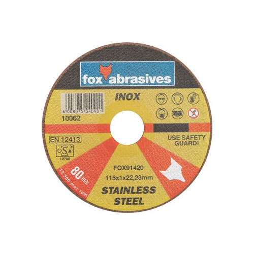 FOX ABRASIVE STAINLESS STEEL CUTTING DISC - 1.0 THICKNESS