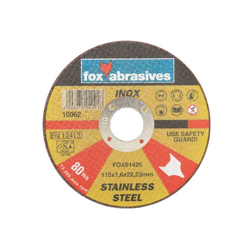 FOX ABRASIVE STAINLESS STEEL CUTTING DISC - 1.6 THICKNESS
