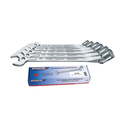 GEDORE SWIVEL HEAD WRENCH COMBINATION SPANNER SET 6 PIECE 534-6M