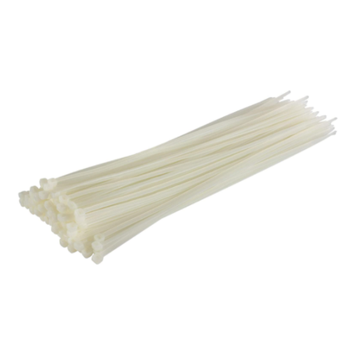 MTS LONG WHITE CABLE TIES 100 PACK