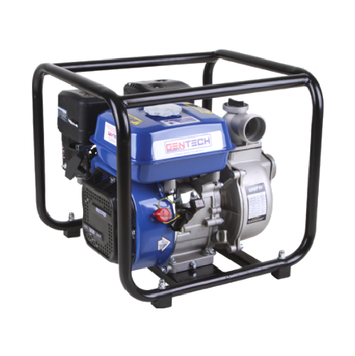 """GENTECH 4 STROKE PORTABLE RECOIL PETROL WATER PUMP WITH 2"""" PIPE FITTINGS GPWP20"""