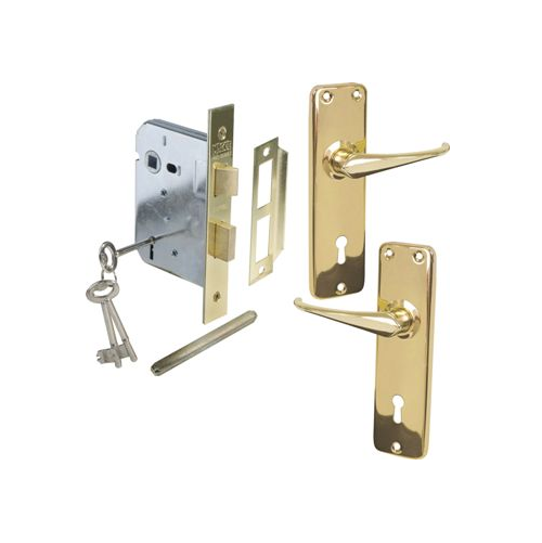 MACKIE MORTICE LOCKSETS WITH BRASS LIGHT DUTY PRESSED PLATE HANDLE - PRO SERIES