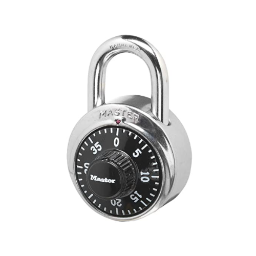 MASTER LOCK STAINLESS STEEL SPIN DIAL COMBINATION PADLOCK