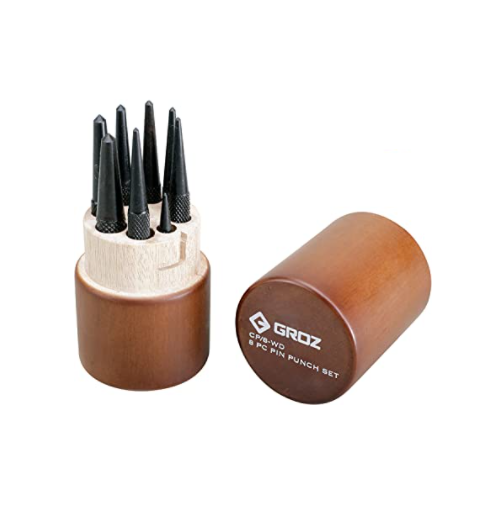 GROZ ROUND HEAD CENTRE PUNCH SET 8 PIECE WITH BOX 1.5-5.5 CP/8-WD