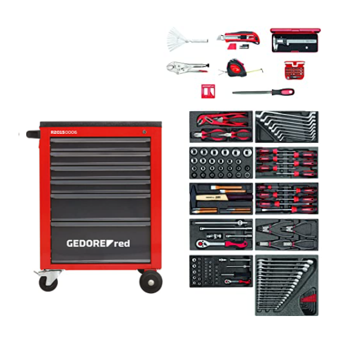 GEDORE RED TOOL TROLLEY 6 DRAWER 218 PIECE R21560060