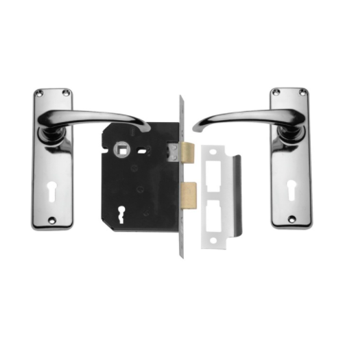 MACKIE LOCKSET MORTICE CHROME PLATED WITH HANDLES