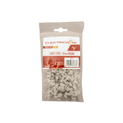 ROUND CABLE CLIPS PACK OF 100