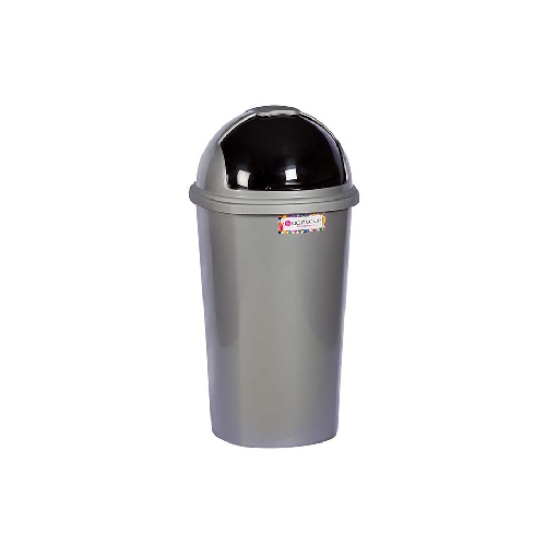 ROUND SILVER REFUSE BIN WITH SLIDING LID