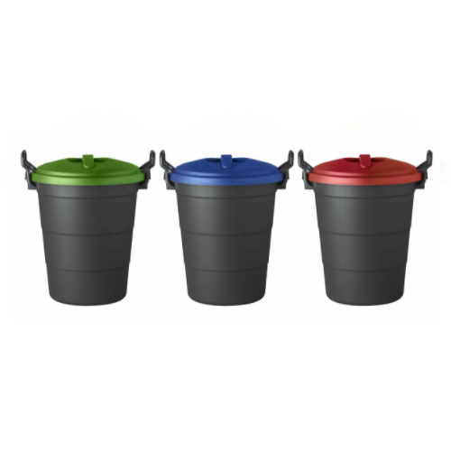 70 LITRE ROUND REFUSE BIN SET IN RED, BLUE AND GREEN