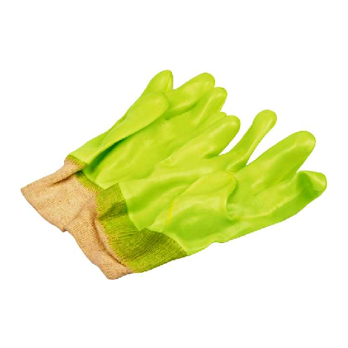 GREEN FULLY COATED PVC KNIT WRIST SAFETY GLOVES