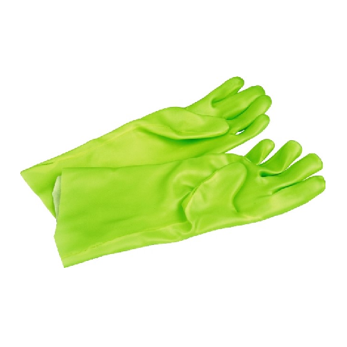 GREEN FULLY COATED PVC ELBOW LENGHT SAFETY GLOVES