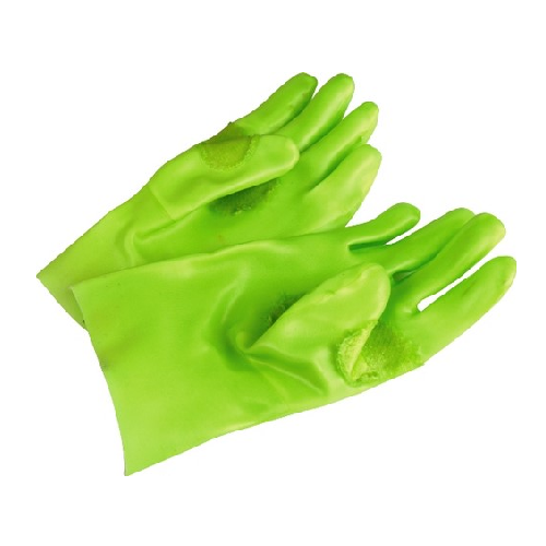 GREEN FULLY COATED PVC OPEN CUFF SAFETY GLOVES