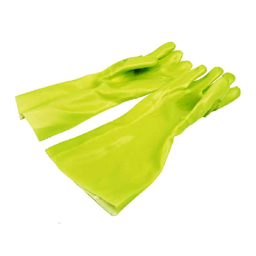 GREEN FULLY COATED PVC ELBOW LENGTH REINFORCED SAFETY GLOVES